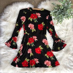 Topshop Red Floral Bell Sleeve Dress
